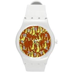 Cartoon Grunge Cat Wallpaper Background Round Plastic Sport Watch (M)