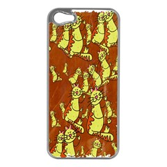 Cartoon Grunge Cat Wallpaper Background Apple Iphone 5 Case (silver)