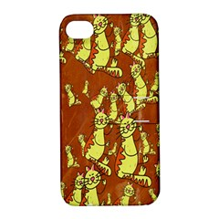 Cartoon Grunge Cat Wallpaper Background Apple iPhone 4/4S Hardshell Case with Stand