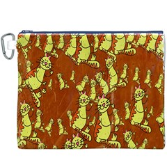 Cartoon Grunge Cat Wallpaper Background Canvas Cosmetic Bag (xxxl)