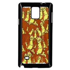 Cartoon Grunge Cat Wallpaper Background Samsung Galaxy Note 4 Case (Black)