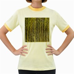 Bamboo Trees Background Women s Fitted Ringer T Shirts