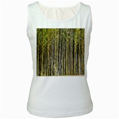 Bamboo Trees Background Women s White Tank Top