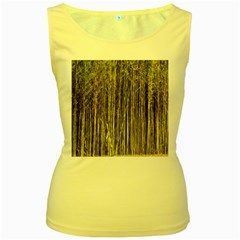 Bamboo Trees Background Women s Yellow Tank Top