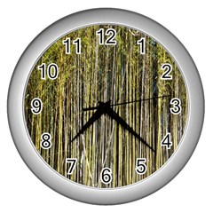 Bamboo Trees Background Wall Clocks (silver)