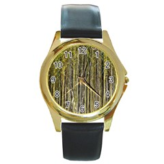 Bamboo Trees Background Round Gold Metal Watch