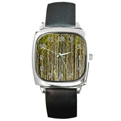 Bamboo Trees Background Square Metal Watch