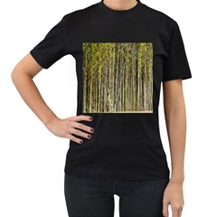 Bamboo Trees Background Women s T-Shirt (Black) (Two Sided)