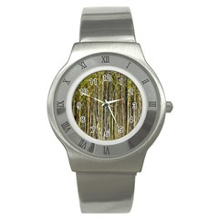 Bamboo Trees Background Stainless Steel Watch