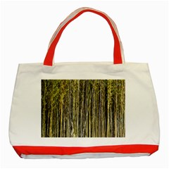 Bamboo Trees Background Classic Tote Bag (Red)
