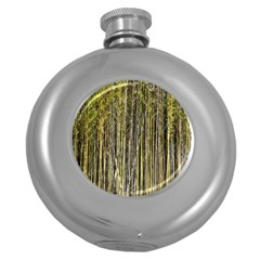 Bamboo Trees Background Round Hip Flask (5 Oz)