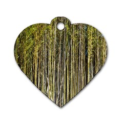 Bamboo Trees Background Dog Tag Heart (Two Sides)