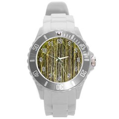Bamboo Trees Background Round Plastic Sport Watch (l)