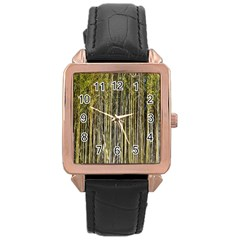 Bamboo Trees Background Rose Gold Leather Watch