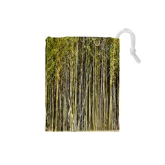 Bamboo Trees Background Drawstring Pouches (small)