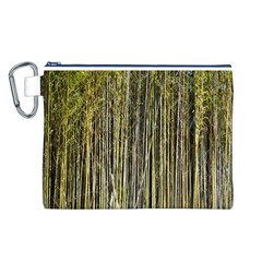 Bamboo Trees Background Canvas Cosmetic Bag (L)