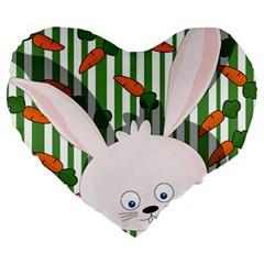 Easter bunny  Large 19  Premium Heart Shape Cushions