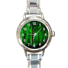 Spooky Forest With Illuminated Trees Round Italian Charm Watch