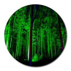 Spooky Forest With Illuminated Trees Round Mousepads
