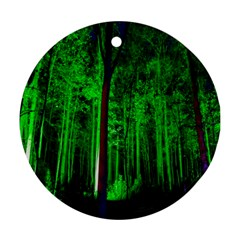Spooky Forest With Illuminated Trees Ornament (Round)
