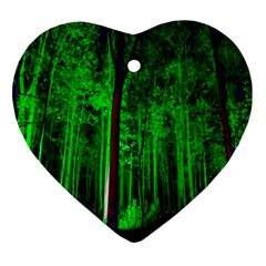 Spooky Forest With Illuminated Trees Ornament (Heart)