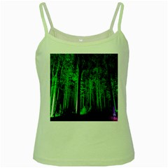 Spooky Forest With Illuminated Trees Green Spaghetti Tank