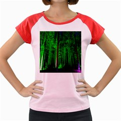Spooky Forest With Illuminated Trees Women s Cap Sleeve T-Shirt