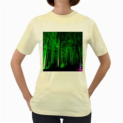Spooky Forest With Illuminated Trees Women s Yellow T Shirt
