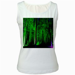 Spooky Forest With Illuminated Trees Women s White Tank Top