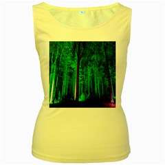 Spooky Forest With Illuminated Trees Women s Yellow Tank Top