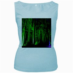 Spooky Forest With Illuminated Trees Women s Baby Blue Tank Top