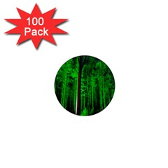 Spooky Forest With Illuminated Trees 1  Mini Magnets (100 Pack)