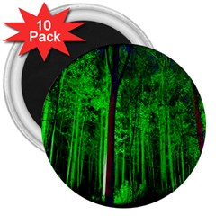 Spooky Forest With Illuminated Trees 3  Magnets (10 pack)