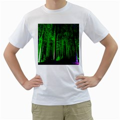 Spooky Forest With Illuminated Trees Men s T Shirt (white) (two Sided)