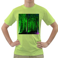 Spooky Forest With Illuminated Trees Green T-Shirt