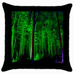 Spooky Forest With Illuminated Trees Throw Pillow Case (Black)