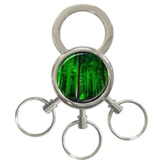 Spooky Forest With Illuminated Trees 3-Ring Key Chains
