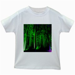 Spooky Forest With Illuminated Trees Kids White T-Shirts