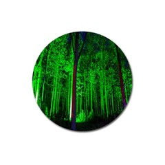 Spooky Forest With Illuminated Trees Magnet 3  (round)