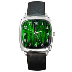 Spooky Forest With Illuminated Trees Square Metal Watch