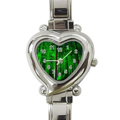 Spooky Forest With Illuminated Trees Heart Italian Charm Watch
