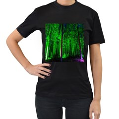 Spooky Forest With Illuminated Trees Women s T Shirt (black) (two Sided)