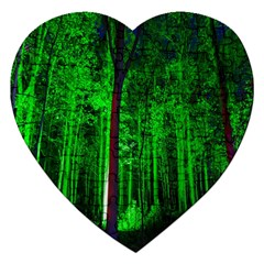 Spooky Forest With Illuminated Trees Jigsaw Puzzle (Heart)