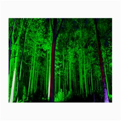 Spooky Forest With Illuminated Trees Small Glasses Cloth