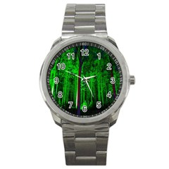 Spooky Forest With Illuminated Trees Sport Metal Watch