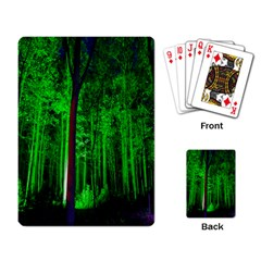 Spooky Forest With Illuminated Trees Playing Card