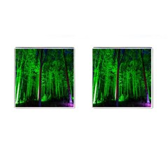Spooky Forest With Illuminated Trees Cufflinks (Square)