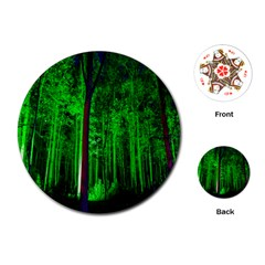 Spooky Forest With Illuminated Trees Playing Cards (Round)
