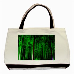 Spooky Forest With Illuminated Trees Basic Tote Bag