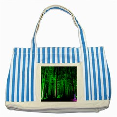 Spooky Forest With Illuminated Trees Striped Blue Tote Bag